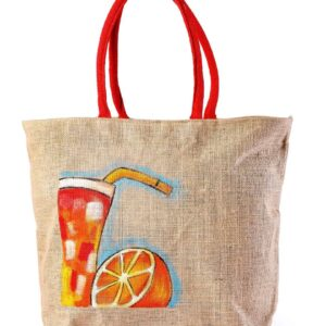 Jute Beach bag with Red Handle