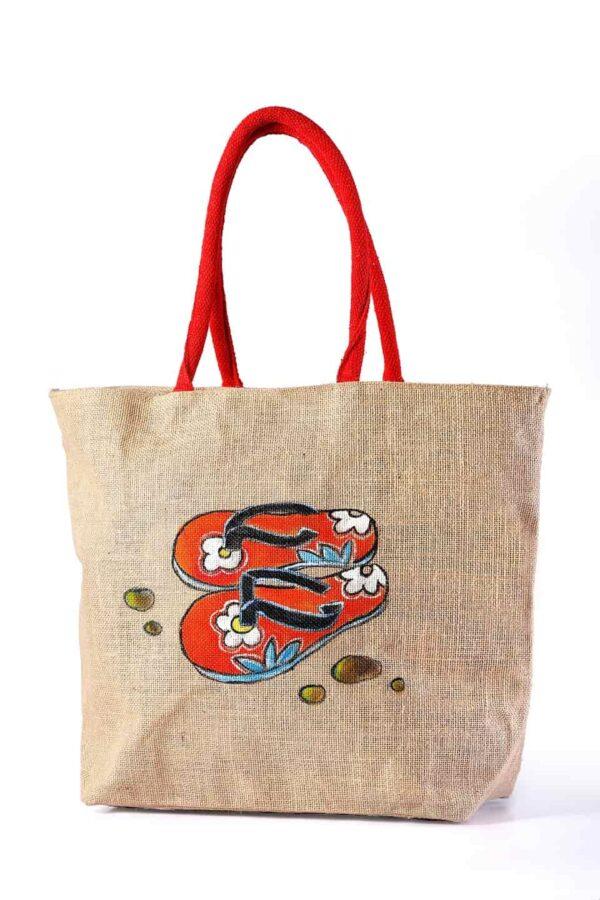 Jute Beach bag Sandal Printed