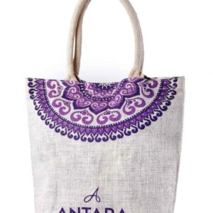 Jute Promotional Bag Purple Printed