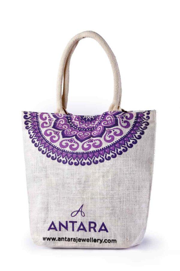 Jute Promotional Bag Purple Printed