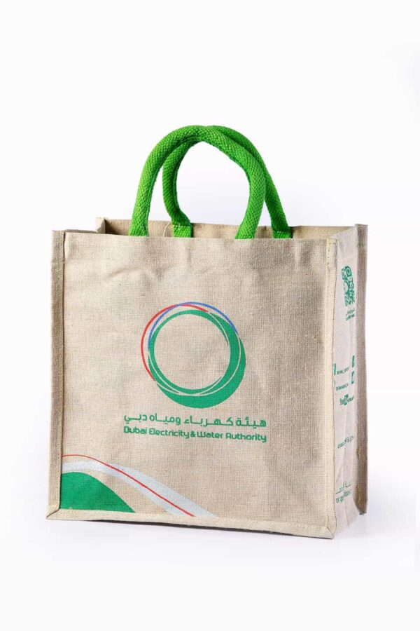 Jute Promotional Bag With Green Handle