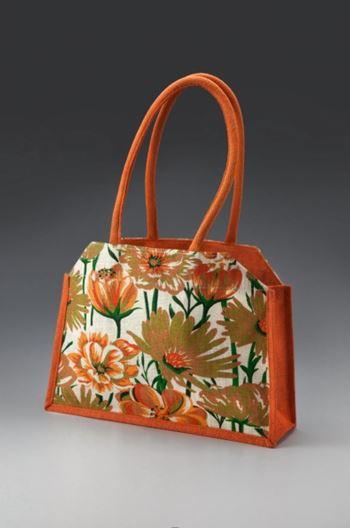 Jute Fashion hand bag Printed Brown